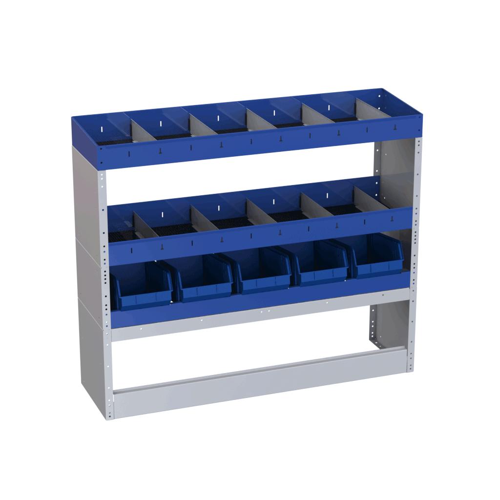 Allestimento Citan lato destro modulo base con copripassaruota aperto e mensole con divisori