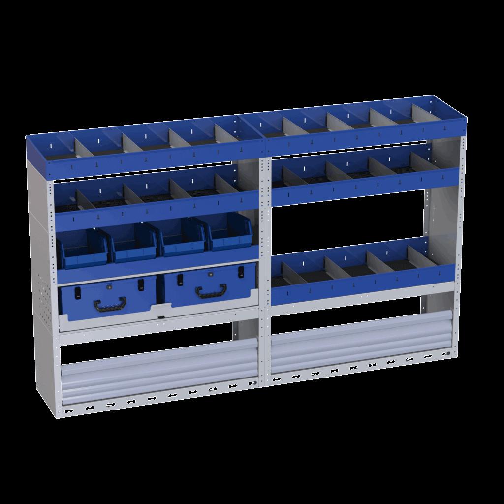 allestimento furgoni tecnolam scaffalatura lato sinistro con copripassaruota chiuso valigette estraibili mensole e vaschette a bocca di lupo