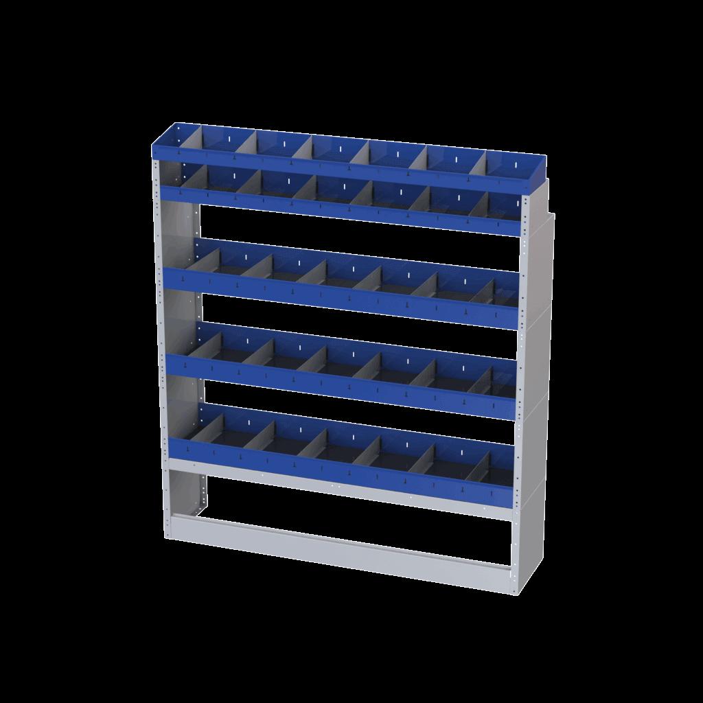 Scaffalature iveco daily lato destro modello base con mensole e divisori in acciaio