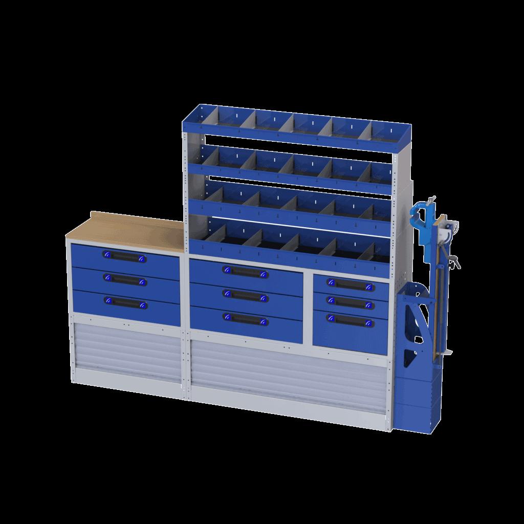 modulo scaffalatura con portamorsa basculante piana di lavoro cassettiere e mensole con divisori ideale per allestire la parte destra del tuo veicolo commerciale