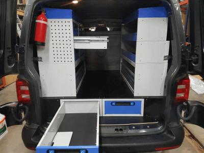 Allestimento furgoni t5 vw cassetti sotto al pianale