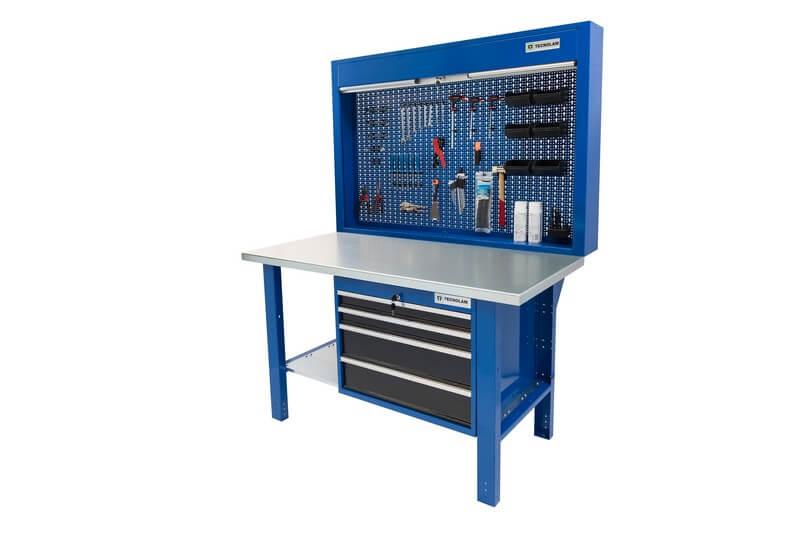 banco da lavoro con cassetti chiudibili piana in acciaio e pannello posteriore con serranda