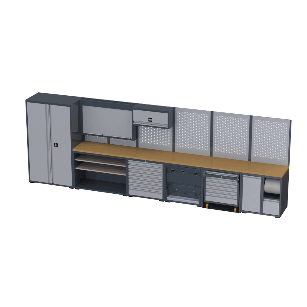 scaffali officina completa con banco lavoro e armadio