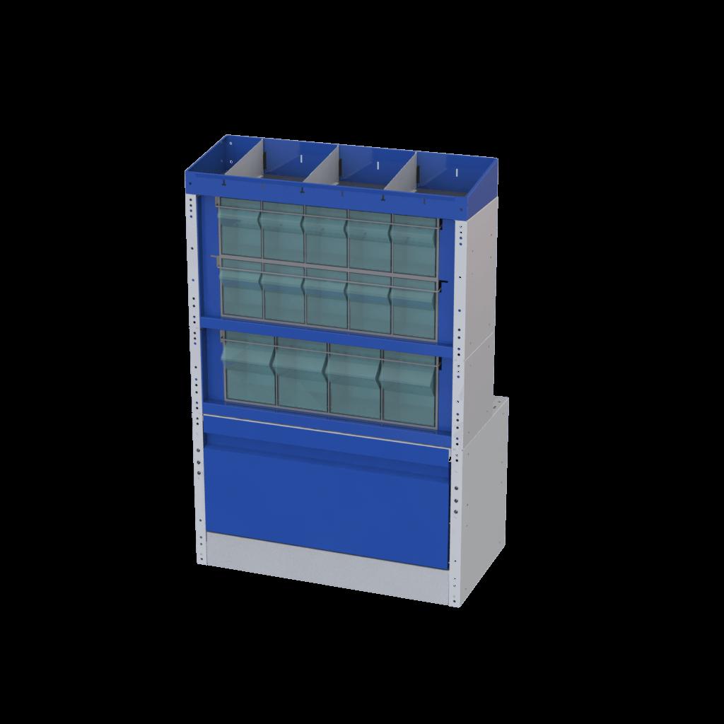 Cassettiere in plastica trasparenti per allestimento furgoni