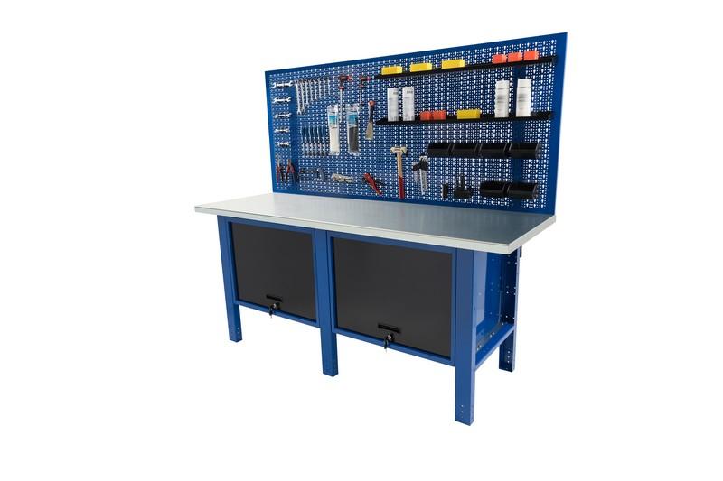 banco da lavboro 2 metri piana in acciaio pannello posteriore portautensili semplice e due cassettoni con anta a vasistas
