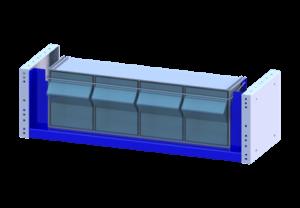 Cassettiera basculante trasparente per furgoni
