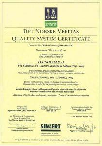 certificato qualità tecnolam